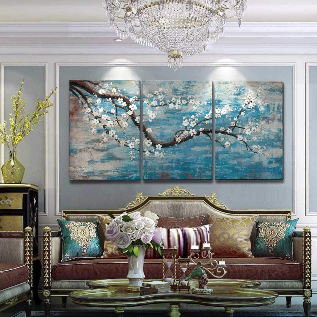 Extra Large Wall Art for Living Room 100 Hand-Painted Framed Decorative Floral Oil Painting Set Decorative Modern Blue Tree Artwork Ready to Hang 72 x36