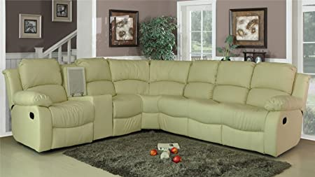 LoveSofas New Luxury Valencia Bonded Leather Recliner Corner Sofa With  Drinks Console Cream Right
