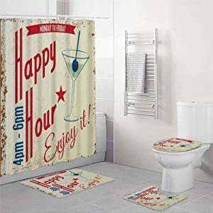 EricauBird Beer Retro Vintage Happy Hour Drink Typographical Food Abstract Cocktail Party Bar Word Pub Shower Curtain with Rings Polyester Fabric Shower Curtains with Hooks Bath Bathroom Decor