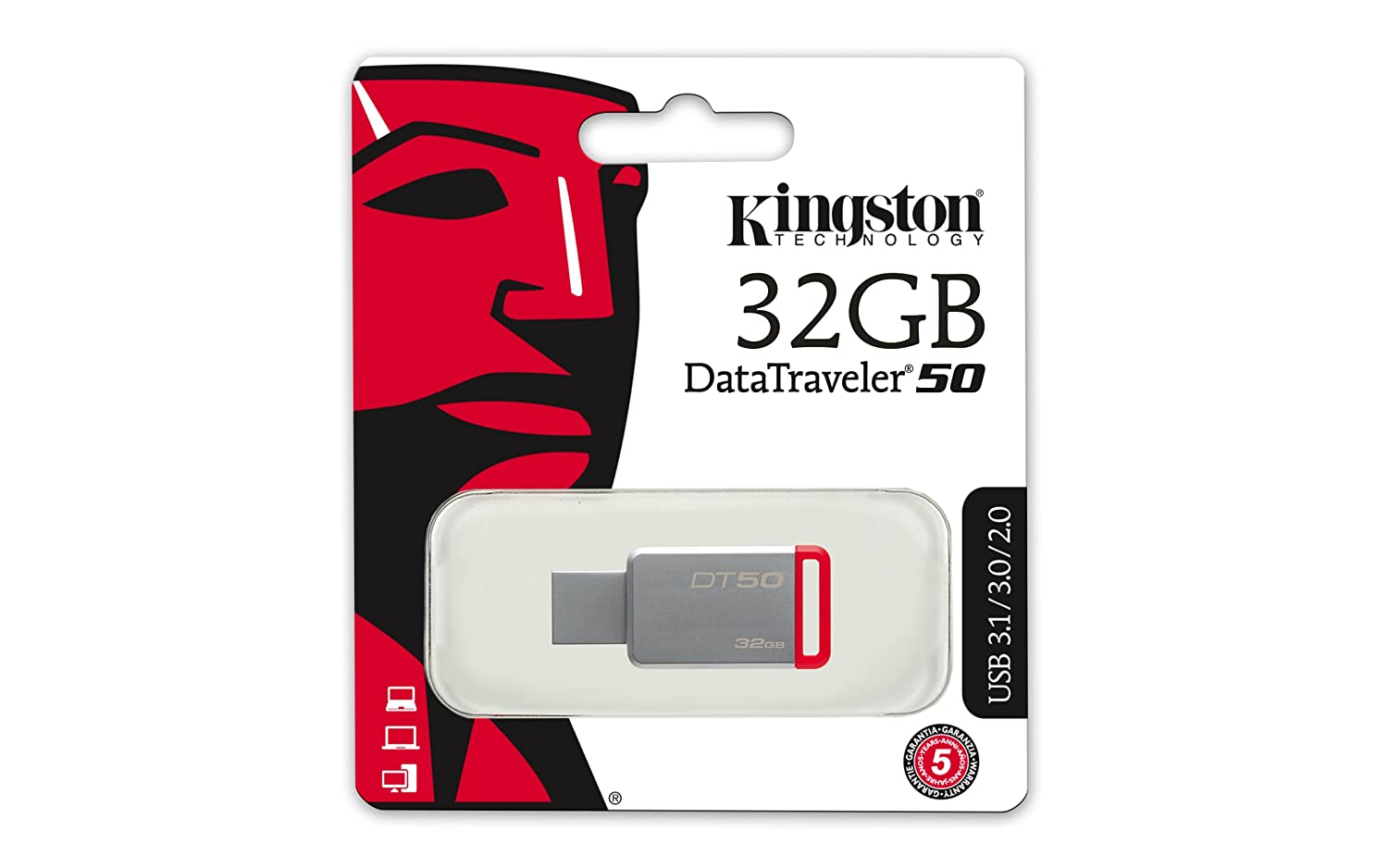 Image result for Kingston Metal USB Flash Drive DT50 32 GB Pen Drive  (White, Red)