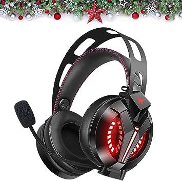 Combatwing Auriculares Gaming con Micrófono para PS4 PC, Cascos Gaming con Luz LED Auriculares de