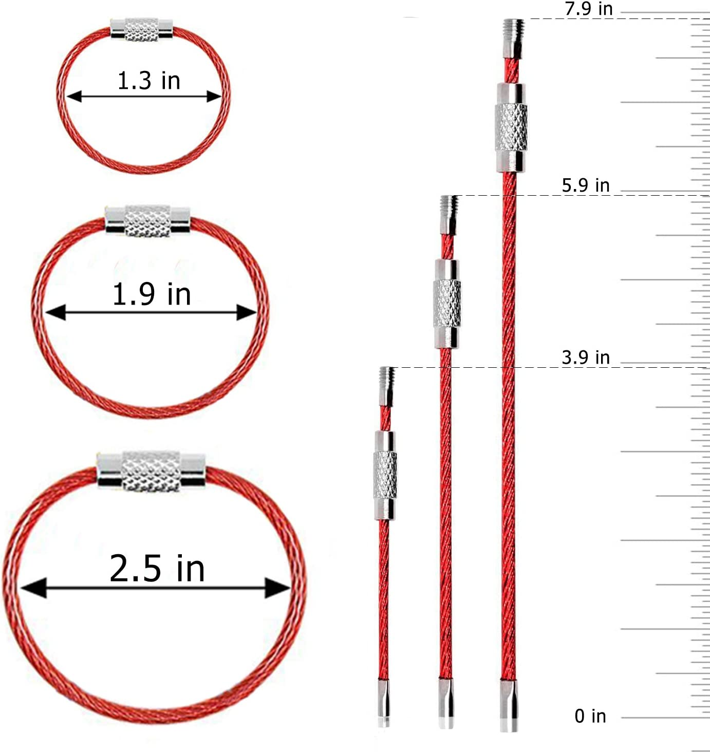 10,2 15,2 19,8 25,4 cm C/âble Porte-cl/és CNYMANY 20 pi/èces Fil M/étal Porte-cl/és