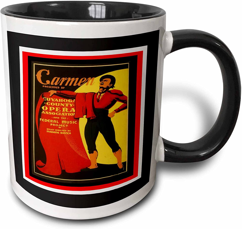 3drose Wpa Carmen Opera Art Deco Poster Two Tone Mug 11 Oz Black White Kitchen Dining