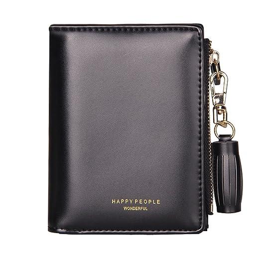 tjetrade wallets for women small pu leather zipper bifold card holder coin purse - Bifold Card Holder
