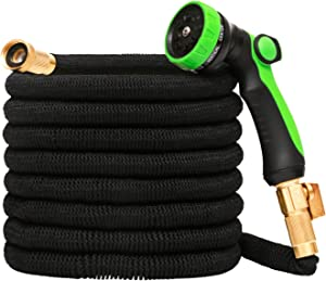 Expandable 50FT Garden Hose with 8 Function Spary Nozzle, Retractable Flexible Water Hose with Durable 3 Layers Latex - Solid Brass Fittings Connect Nozzles
