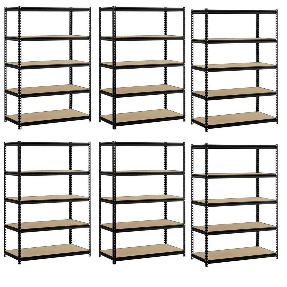Heavy Duty Garage Shelf Steel Metal Storage 5 Level Adjustable Shelves Unit 72'' H x 48'' W x 24'' Deep (6 Pack)