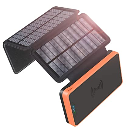 Solar Charger, Wireless Portable Power Bank, SOARAISE 20000mAh with 3 Solar Panels Waterproof Battery Pack for iPhone, ipad, Samsung, Smart Phones and ...