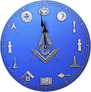Square & Compass Symbols Masonic Wall Clock - [Blue][13 1/4'' Diameter]
