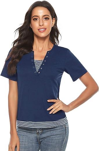 Abollria Camiseta Manga Corta para Mujer Algodón T-Shirt Casual Blusa con Botones Sexy tee Shirt Cuello-V Deportivo Camisa Elasticidad Transpirable Basic Top para Verano: Amazon.es: Ropa y accesorios