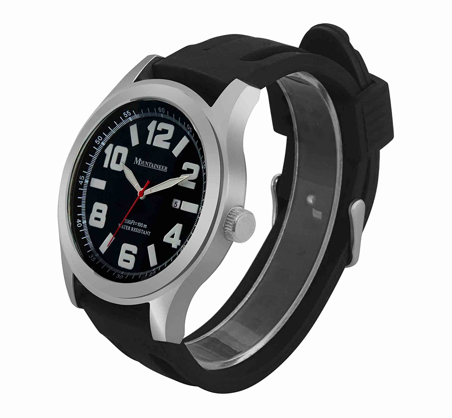 Amazon.com: Mountaineer Mens Sport Watch Black Silicone Rubber Band Big Face Large Oversized Dial Date Reloj MN8040: Watches
