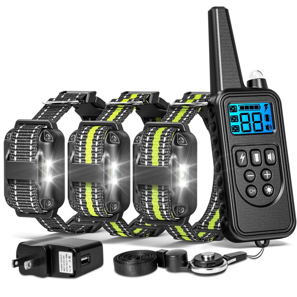 FunniPets Dog Training Collar for 3 Dogs, 2600ft Range Dog Shock Collar with Remote Waterproof Electronic Dog Collar for Medium and Large Dogs with 4 Training Modes Light Static Shock Vibration Beep
