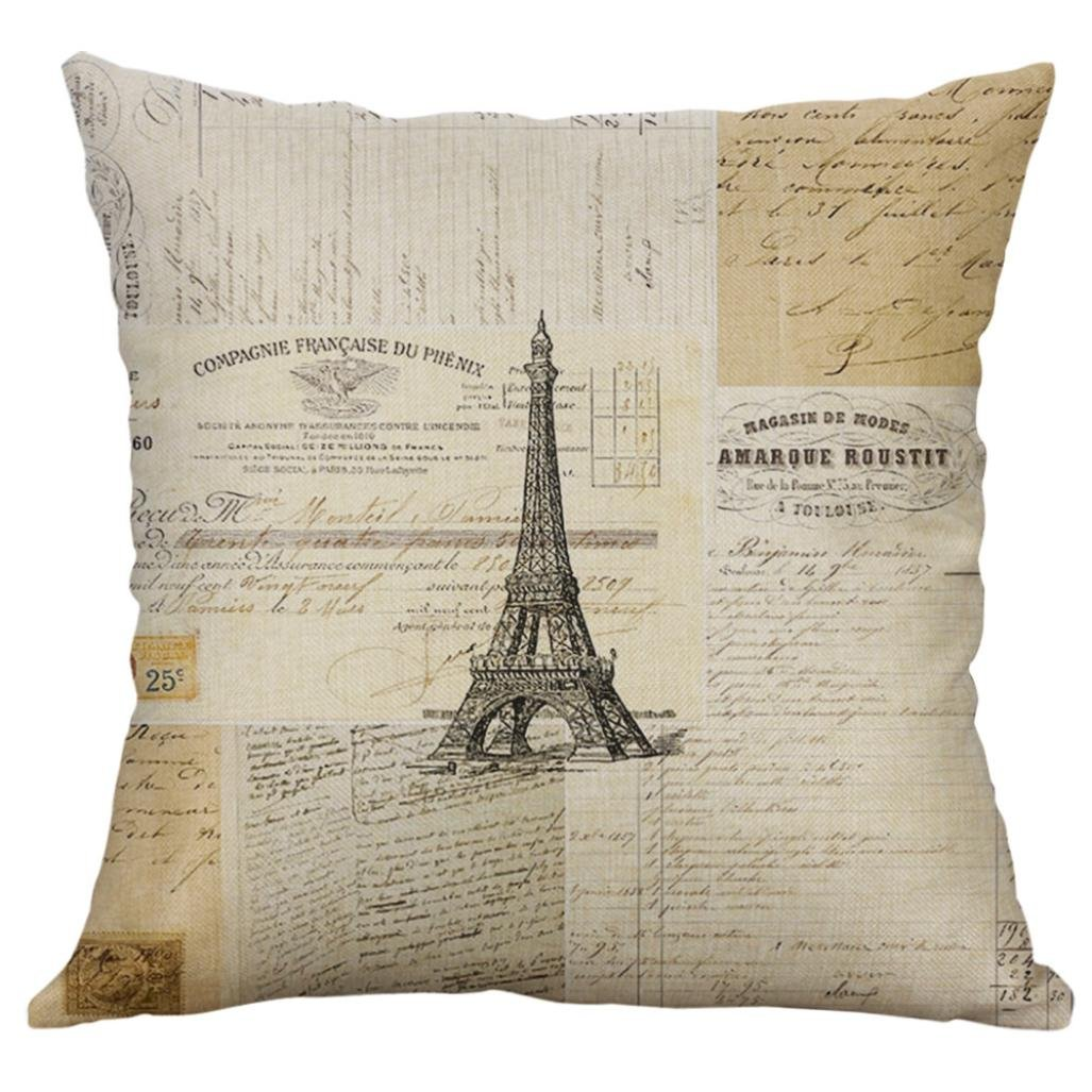 Deloito Vintage Bee on Yellow Dots Cotton Linen Home Decor Throw Sofa Car Cushion Cover Pillow Case 45cm x 45cm by (A)