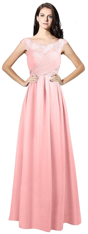 Pink CladiyaDress Women Sheer Neck Cap Sleeves Long Evening Dress Bridesmaid Gowns C067LF
