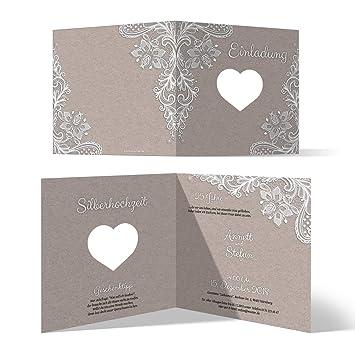 20 X Lasergeschnittene Hochzeitseinladungen Silberhochzeit Silberne Hochzeit Einladung Individuell Rustikal Kraftpapier