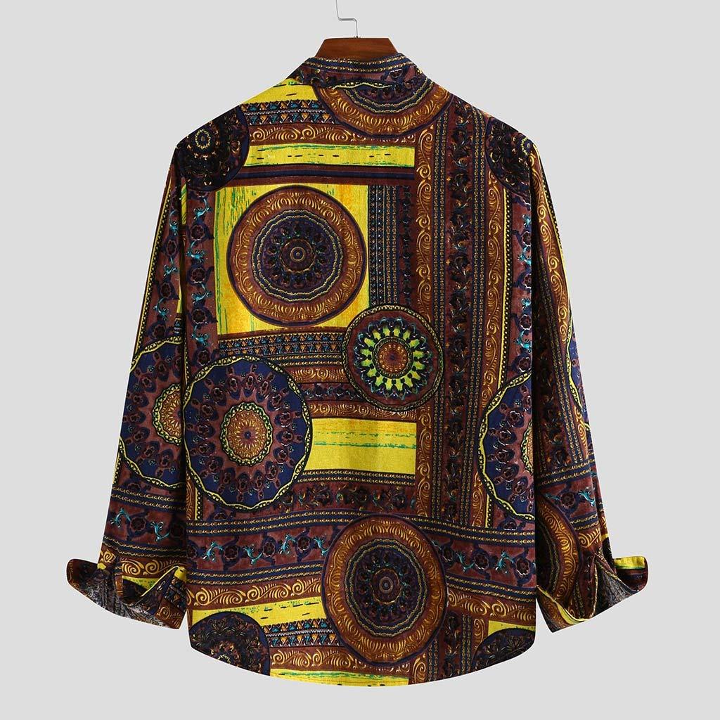 Mens Long Sleeve Hawaiian Shirt Stylish Floral Shirt Slim Fit T-Shirt Casual Cotton Button Down V-Neck Dress Shirts SIN+MON