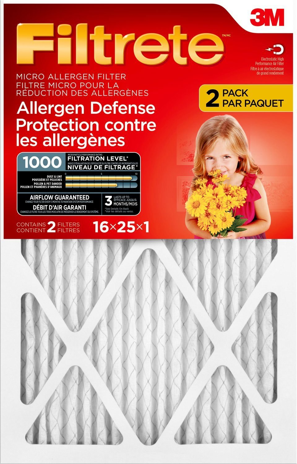 Filtrete MPR 1000 16 x 25 x 1 Micro Allergen Defense AC Furnace Air Filter,