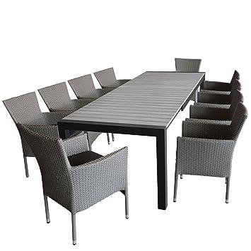 Gartenmöbel Set Ausziehtisch, Aluminiumrahmen, Tischplatte Aus Polywood Grau,  Ausziehbar, 224