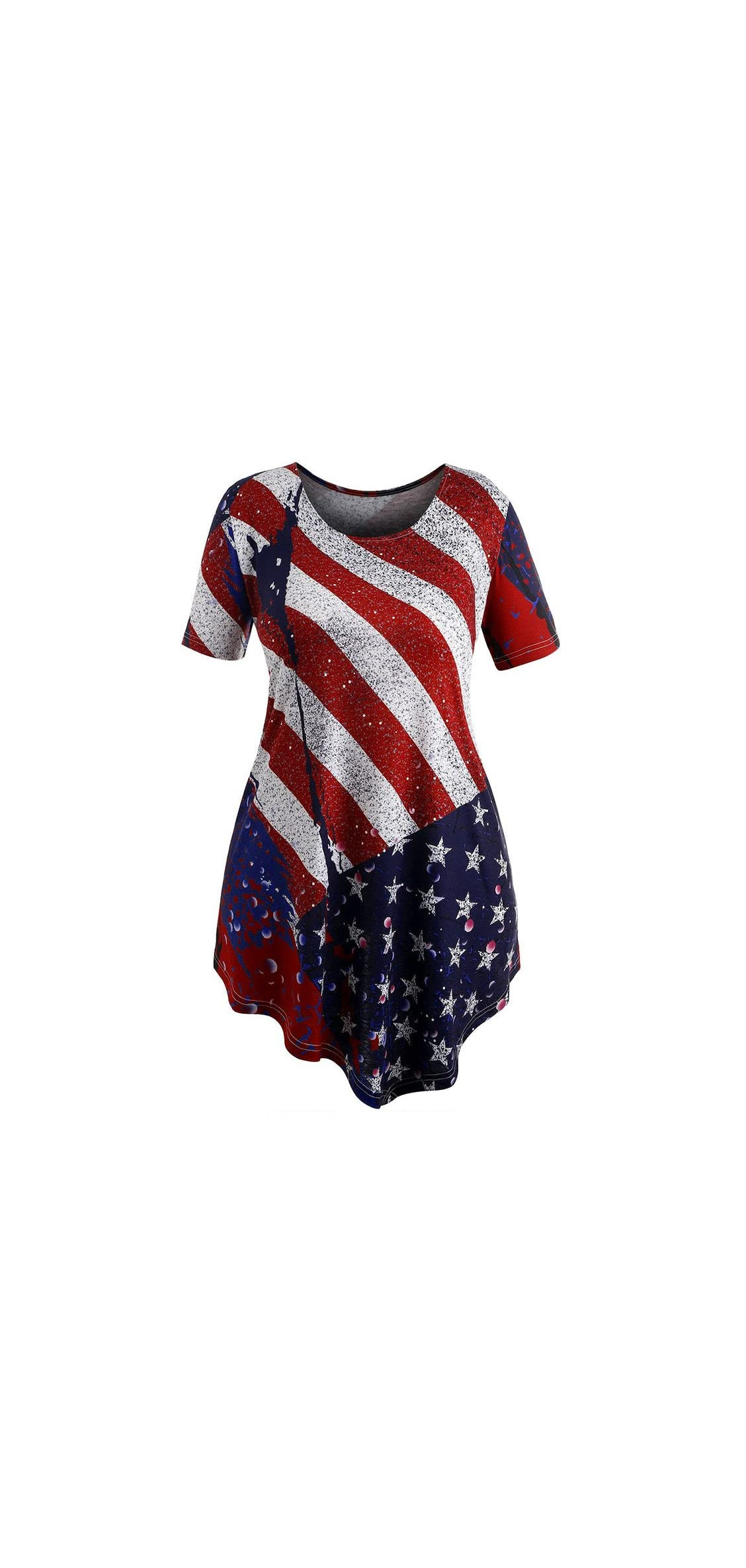 Women Plus Size Stripe Flag Print Irregular Hem Swing
