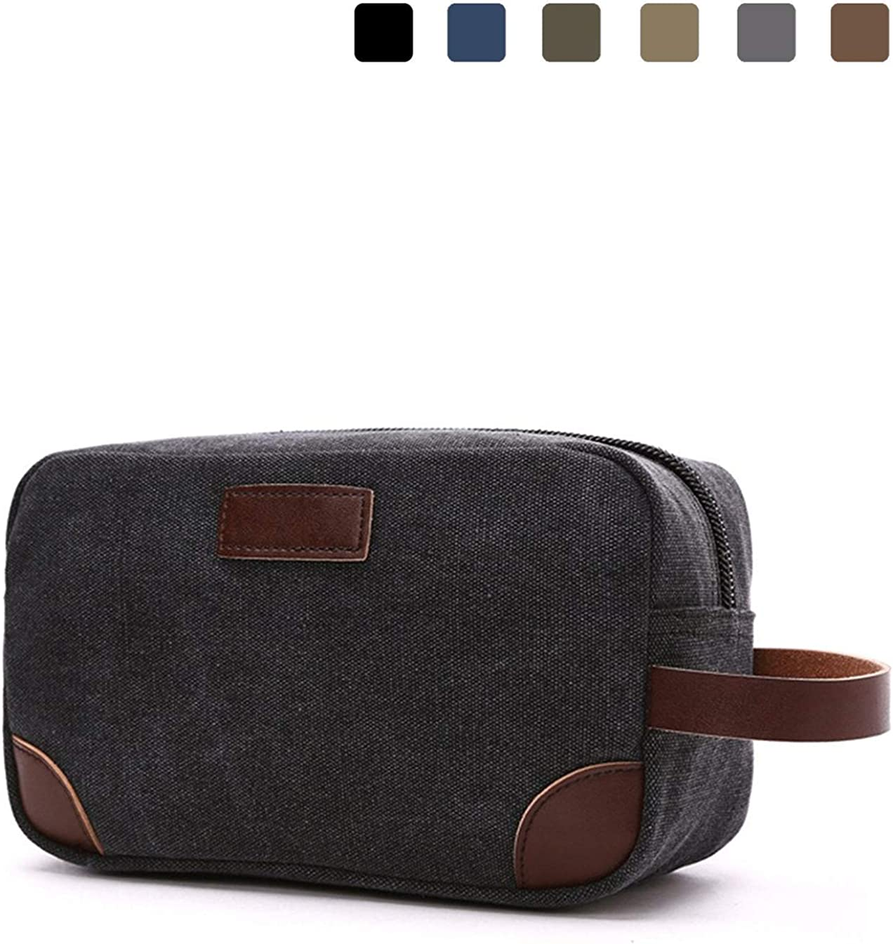 Lanivas Canvas Travel Toiletry Bag Vintage Shaving Dopp Kit with Leather Handle