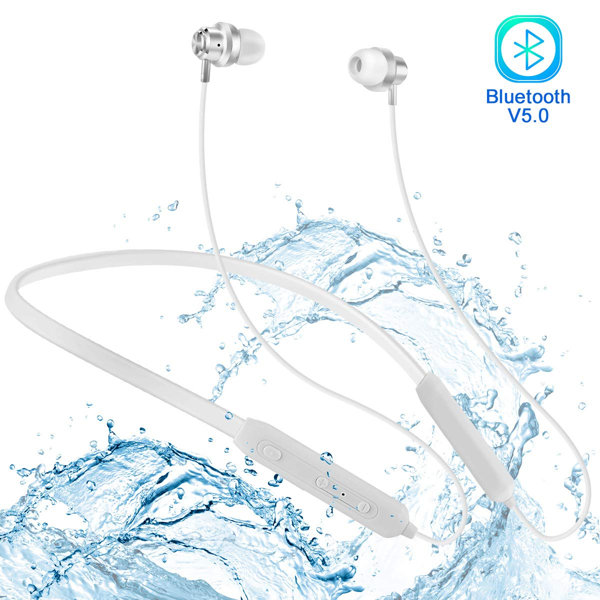 [2019 Upgraded Stereo] Bluetooth Headphones Neckband, DPRUI V5.0 Wireless Sports Headset Noise Canceling IPX7 Waterproof for Running/Gym(White)