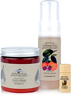product image for Farmstead Apothecary 100% Natural & Organic FIG Bundle with Fig & Honey Anti-Aging Face Cream 4 oz, Fig & Citrus Foaming Face Wash 5 oz, Fig & Honey Lip Balm 0.25 oz, Cruelty-Free & Vegan, 1 Each