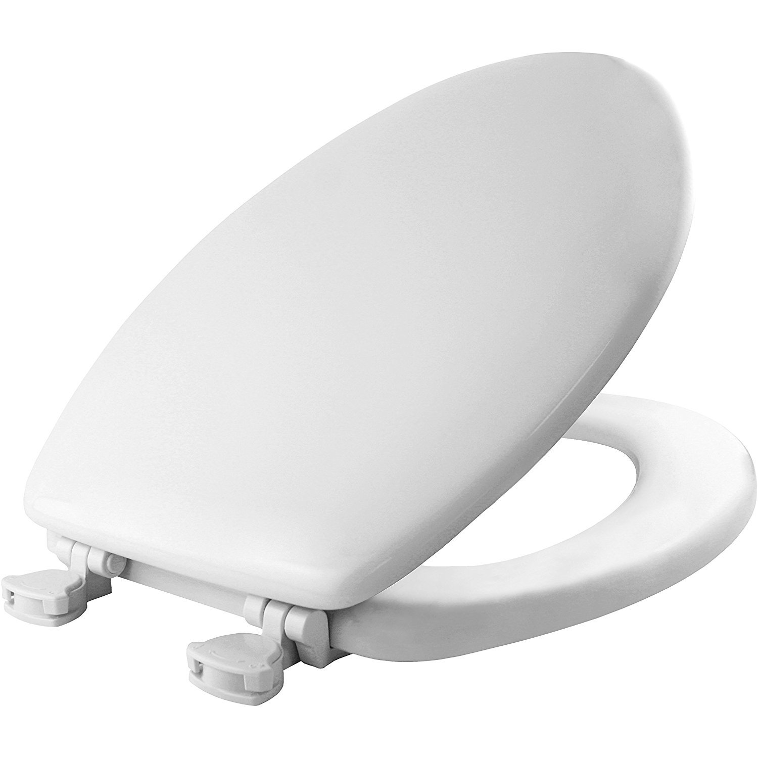 Mayfair Molded Wood Toilet Seat with Easy-Clean & Change Hinges, Elongated, White, 144ECA 000