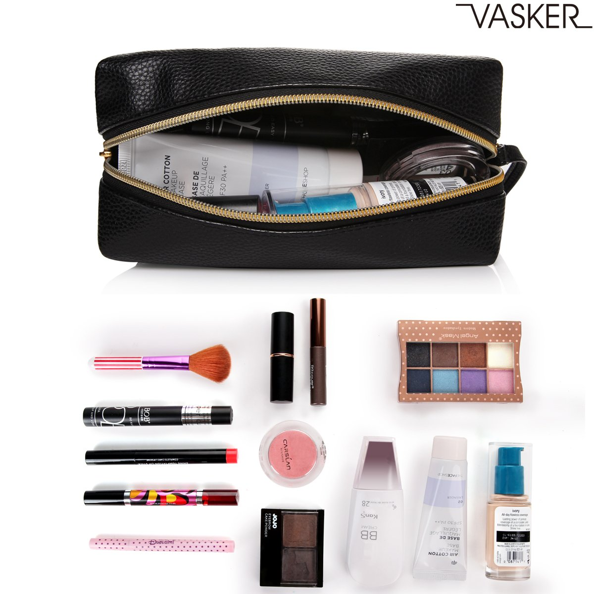VASKER PU Leather Makeup Bag Handy Cosmetic Pouch Travel Portable Handbag Purse Toiletry Storage Bag Large Organizer with Zipper Women by VASKER (Image #2)