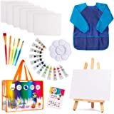Kids Art Set | 27-Piece Acrylic Paint Set with 5 Paint Brushes 8x10 Painting Canvas Tabletop Easel & Bonus Art Smock…