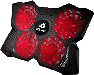 KLIM Wind Refroidisseur PC Portable - Le Plus Puissant - Refroidissement Rapide - 4 Ventilateurs Support Ventilé Gamer Gaming Plaque (Rouge et Noir)
