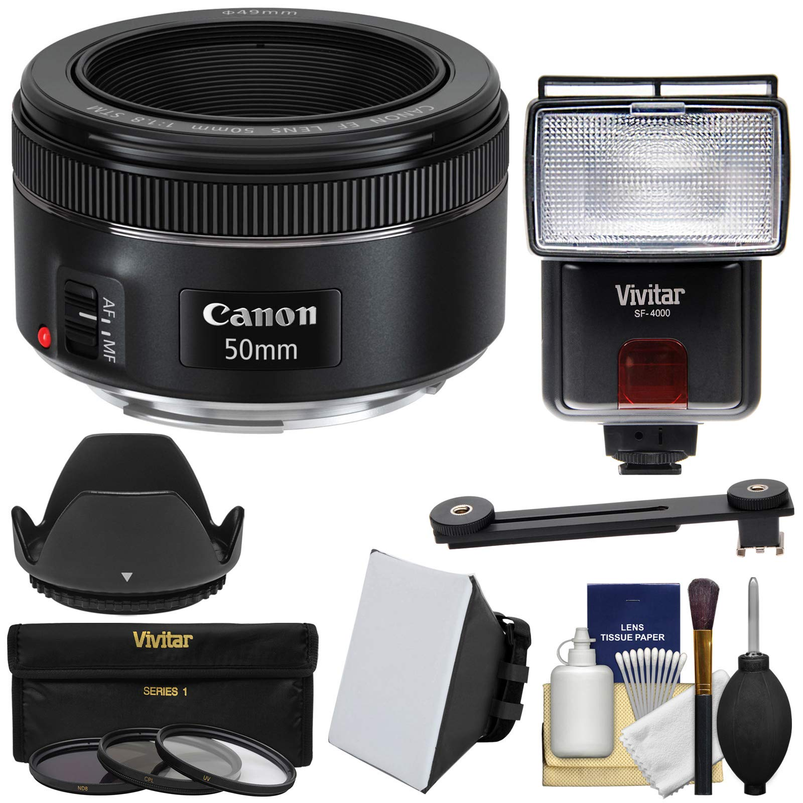 Canon EF 50mm f/1.8 STM Lens with 3 UV/CPL/ND8 Filters + Hood + Flash + Soft Box + Kit for EOS 6D, 70D, 7D, 5DS, 5D, Rebel T3, T3i, T5, T5i, T6i, T6s, SL1 Camera