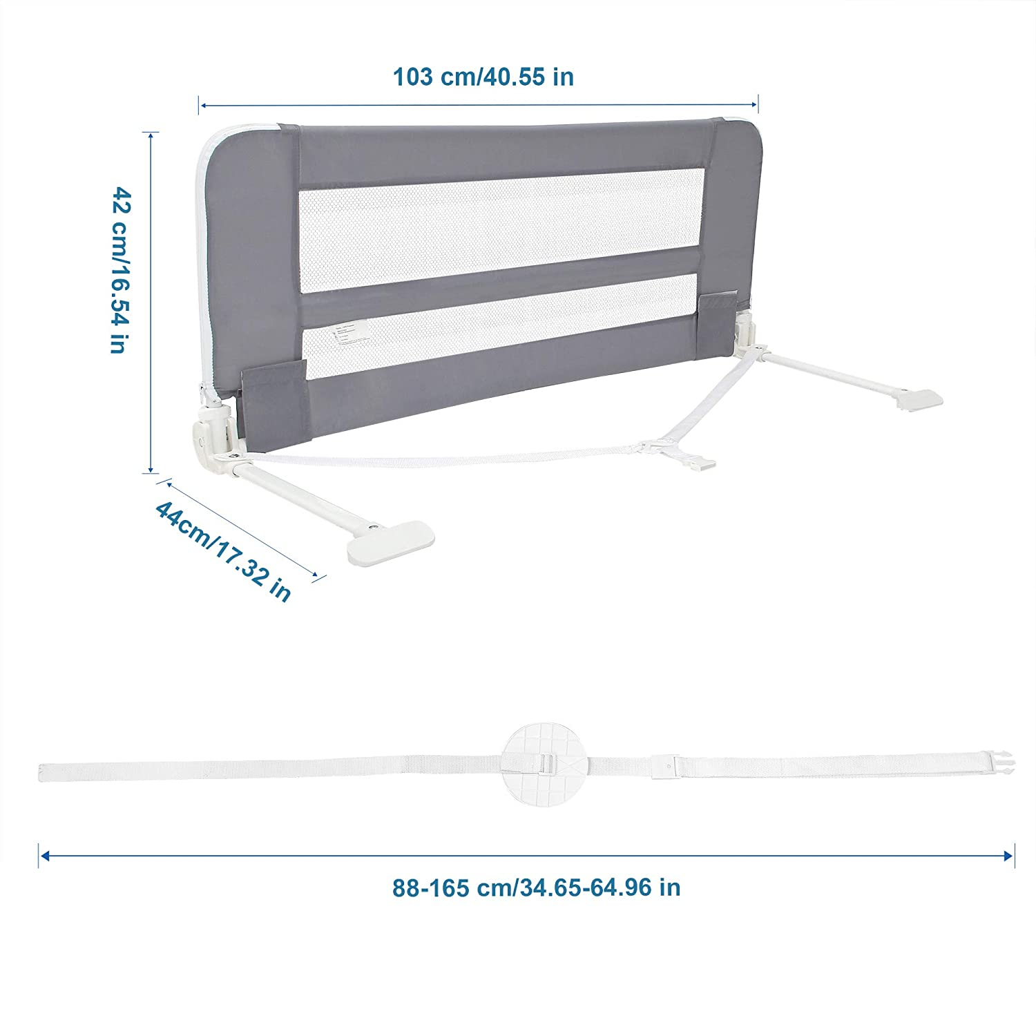 40 Folding Baby Bed Rail for Kids Swing Down Safety Bed Guard for Convertible Crib Full Size Queen /& King Mattress Twins Grey Sotech Bed Rails for Toddlers