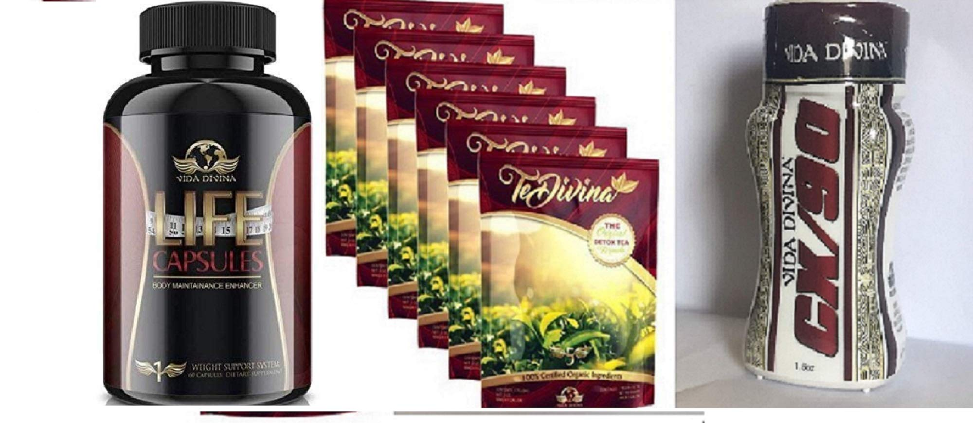 Te Divina 6 Packs,Life Capsules and CX90 Natural Weight Loss Detox Tea, Reduce Bloating, Promote Fat Loss, Control Appetite & Detoxify The Body