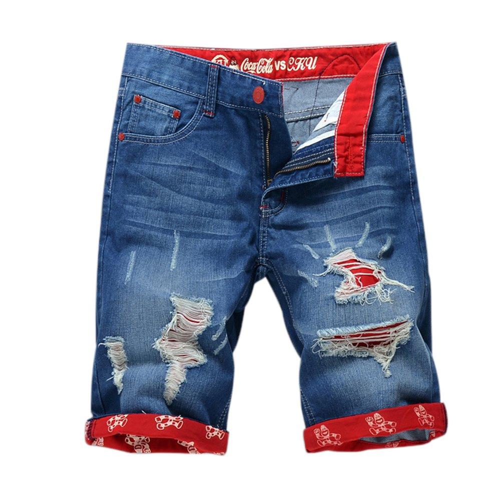 Chen Men's Denim Shorts Ripped Mid Waist Hip hop Jeans Shorts (38, Style 1)