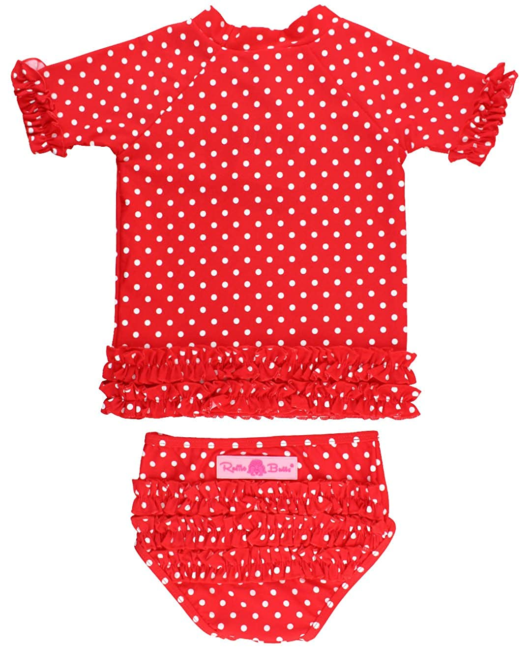 RuffleButts Baby/Toddler Girls Rash Guard Short Sleeve 2-Piece Swimsuit Set - Polka Dot Bikini with UPF 50+ Sun Protection RGSYYXX-SSPD-SC-BABY