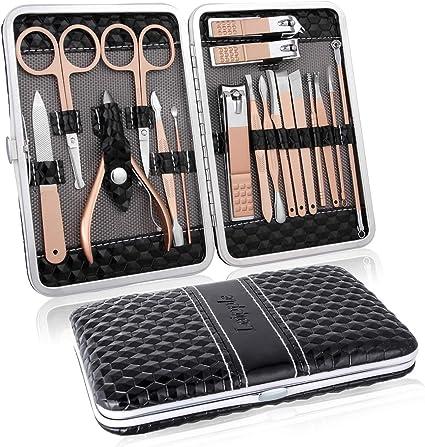 Manicura Pedicura Set 18 PCS Profesional Cortaúñas Acero Inoxidable Grooming Kit - Con Estuche De Viaje De Cuero Lujoso(Negro): Amazon.es: Belleza