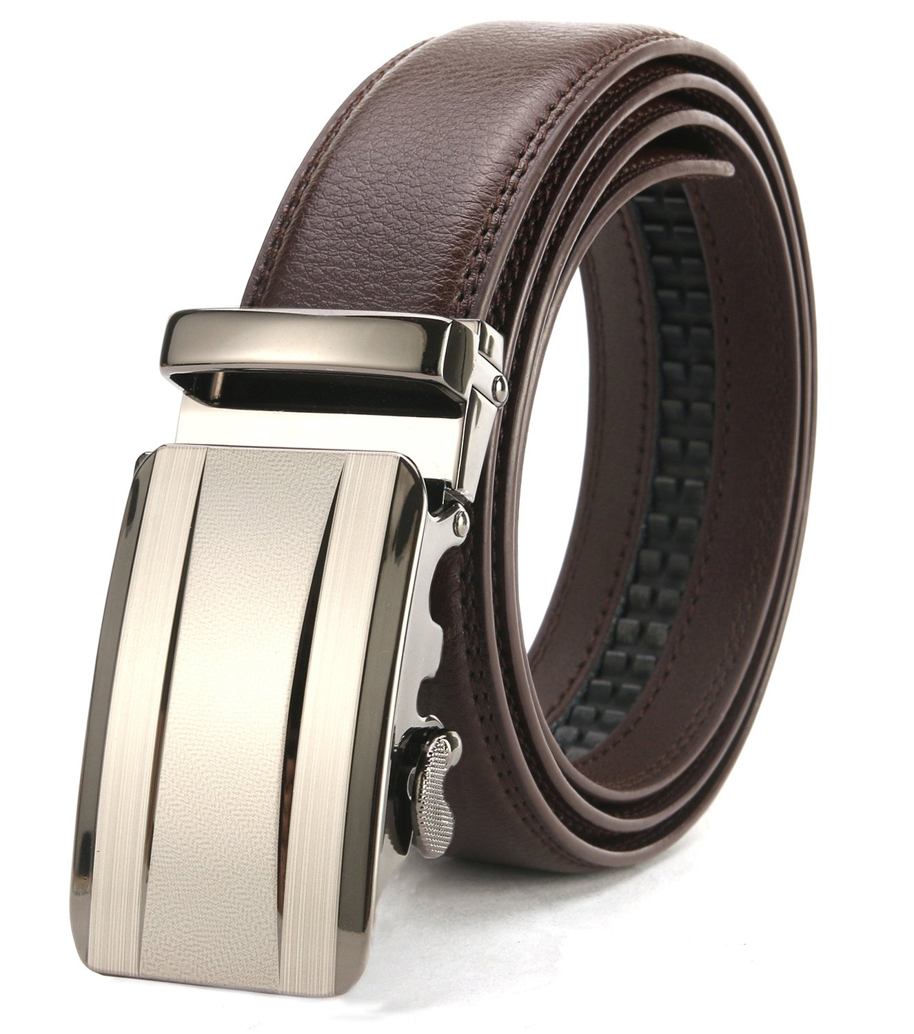 ITIEZY Men's Belt Business Automatic Sliding Buckle Leather Belts Brown 125mm