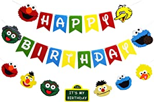 Sesame Elmo Birthday Banner Kit Party Supplies Monster Photo Props Garland Party Decorations for Boys Girls