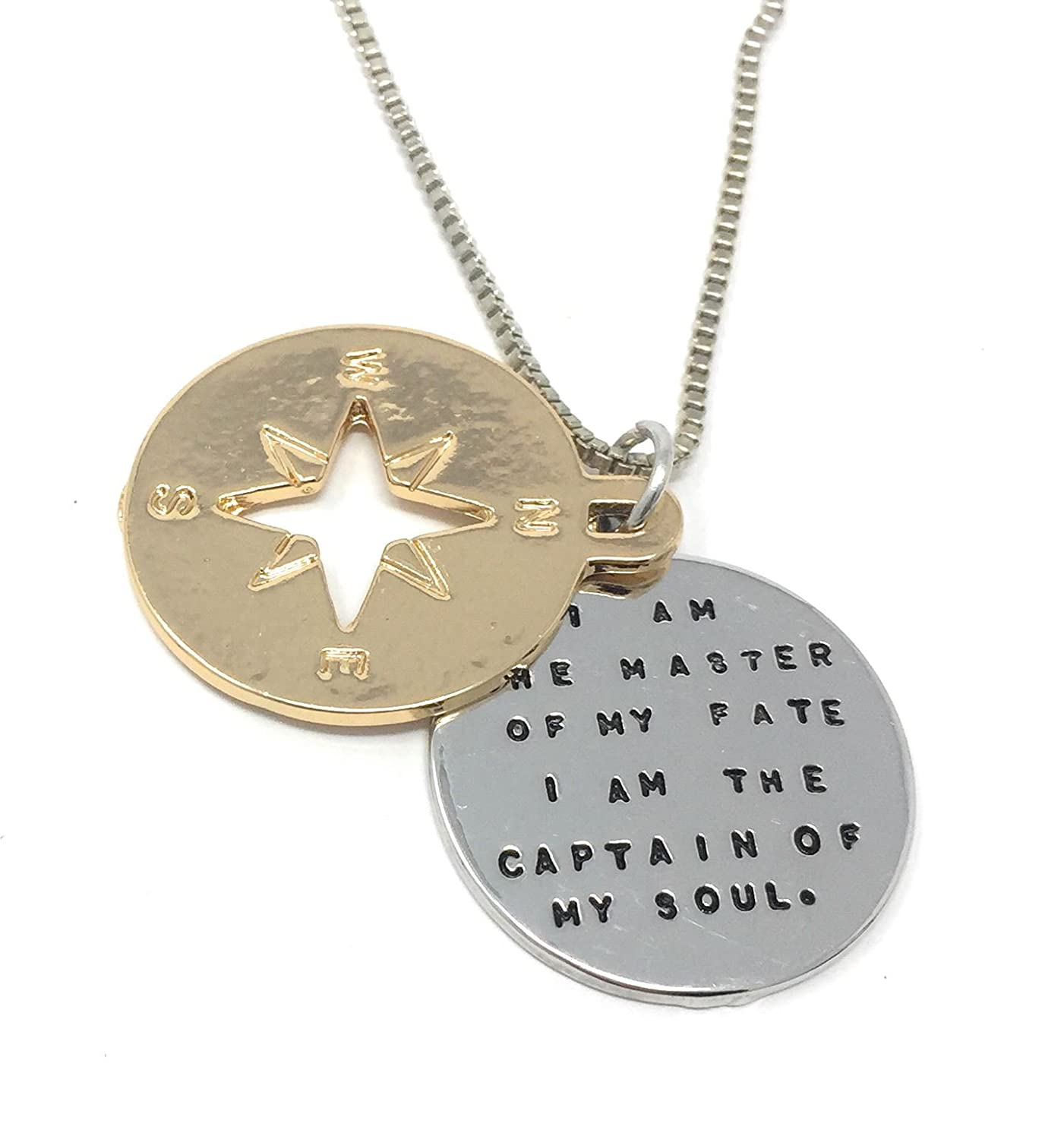Silver-Tone I Am Master of My Fate I Am The Captain of My Soul Engraved Pendant Necklace 2.5cm Diameter with 18 Inch Chain