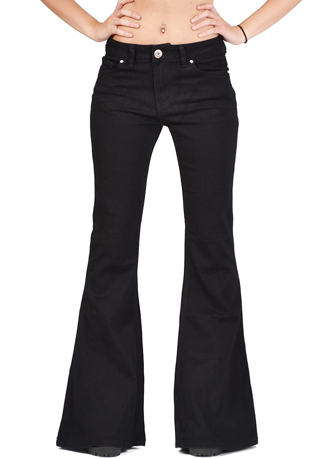 Glamour Outfitters Women's 60s 70s Flares Bell-Bottom Wide Flared