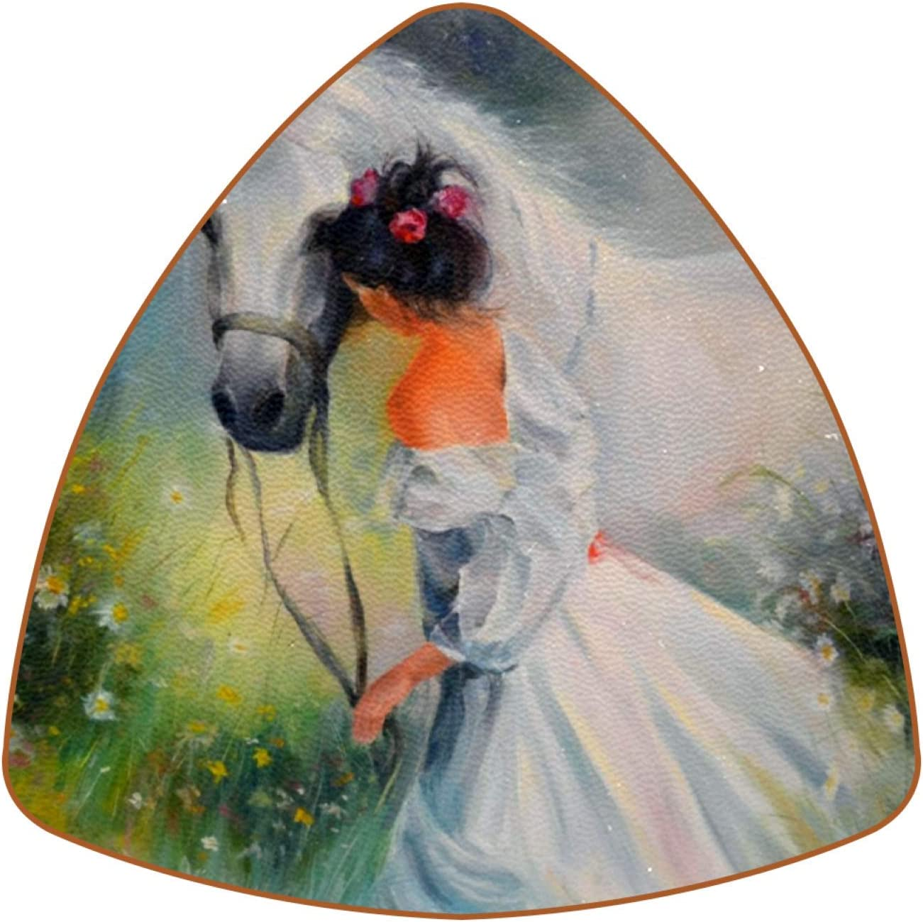 DEYYA Triangle Coasters for Drinks Girl with White Horse On Flower Land Painting Leather Mug Cup Pad Mat for Protect Furniture, Heat Resistant, Kitchen Bar Decor, Set of 6