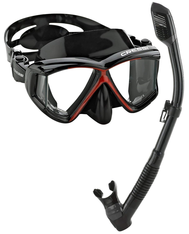 Cressi Panoramic Wide View Mask Dry Snorkel Set (Black Red, Pano 4)
