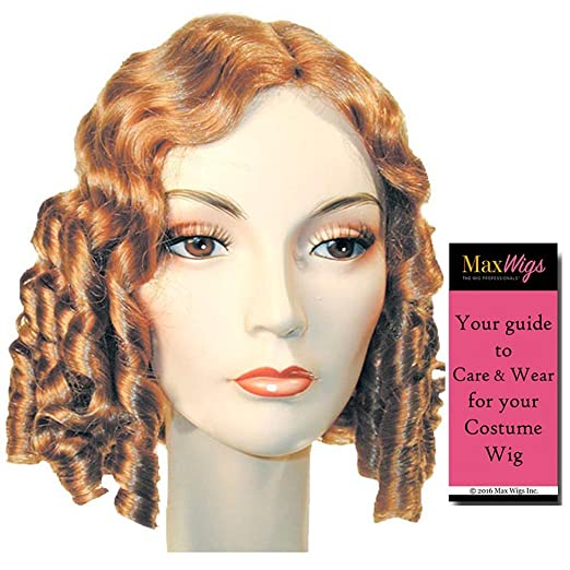 Vintage Hair Accessories: Combs, Headbands, Flowers, Scarf, Wigs 1840 Style Color Light Chestnut Brown - Lacey Wigs Little Women Medieval Maiden Long Curls Bundle with MaxWigs Costume Wig Care Guide $38.99 AT vintagedancer.com