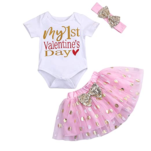 15e9f5d29974 MAMOWEAR Baby Girl My 1st Valentine s Day Outfits Short Sleeve Romper+Dot Bubble  Skirt+