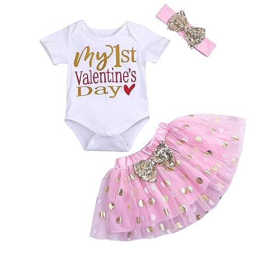 699e882530e MAMOWEAR Baby Girl My 1st Valentine s Day Outfits Short Sleeve Romper+Dot  Bubble Skirt+