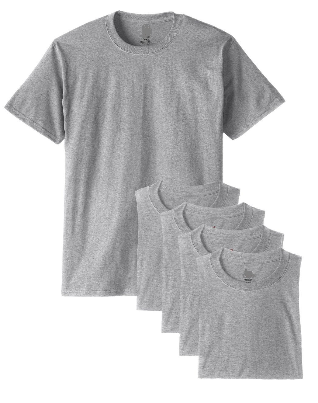 Fruit of the Loom Men's Crew-Neck T-Shirt 5-Pack (XXX-Large, Grey Stay-flat Collar)