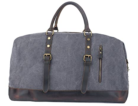 f2d5ee7f8b1 Leaper Canvas Travel Duffel Bag Weekender Extra Large Tote Satchel(Genuine  Leather,Gray)
