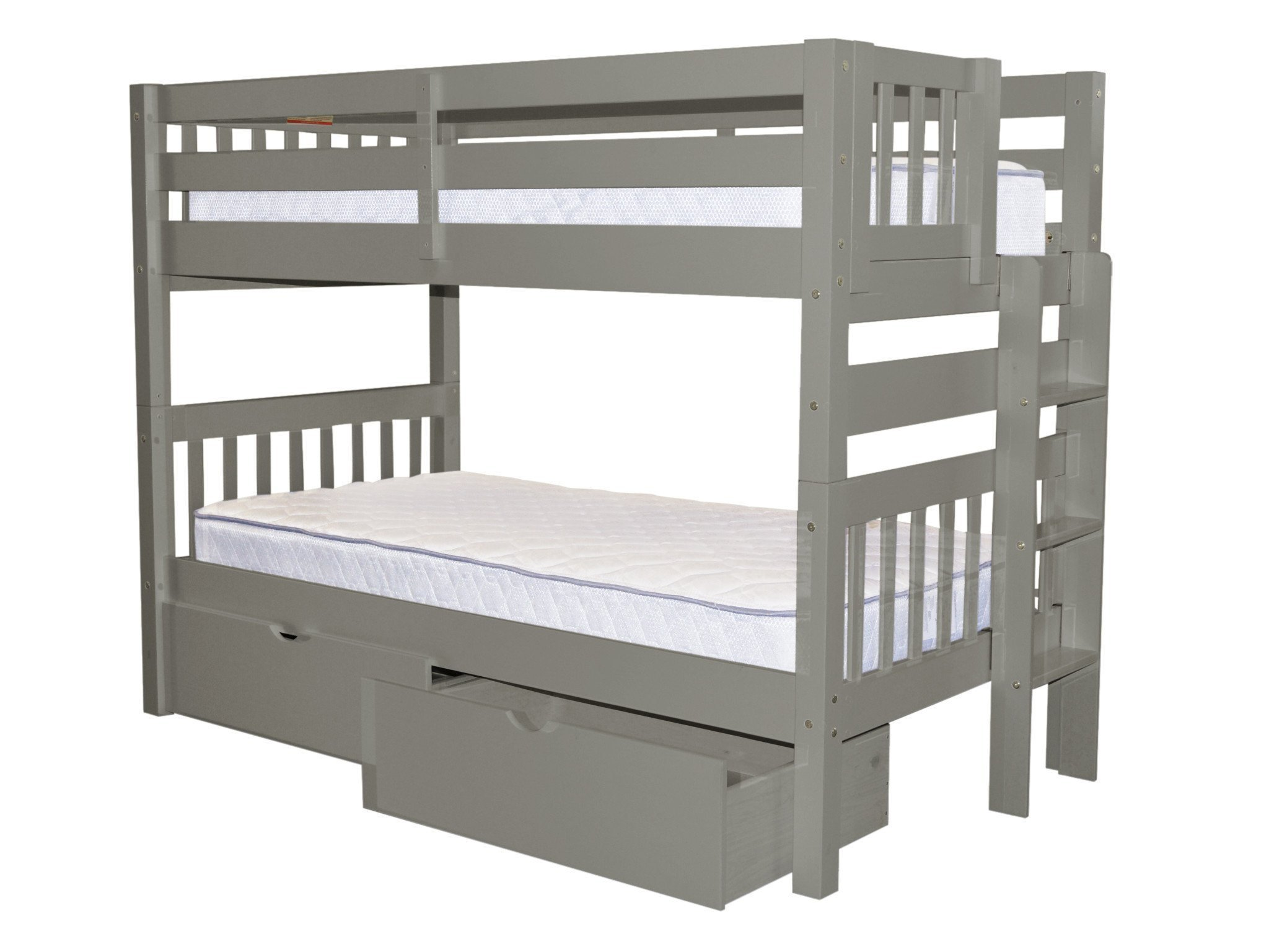 Bedz King Bunk Beds Twin Over Twin Mission Style With End Ladder And