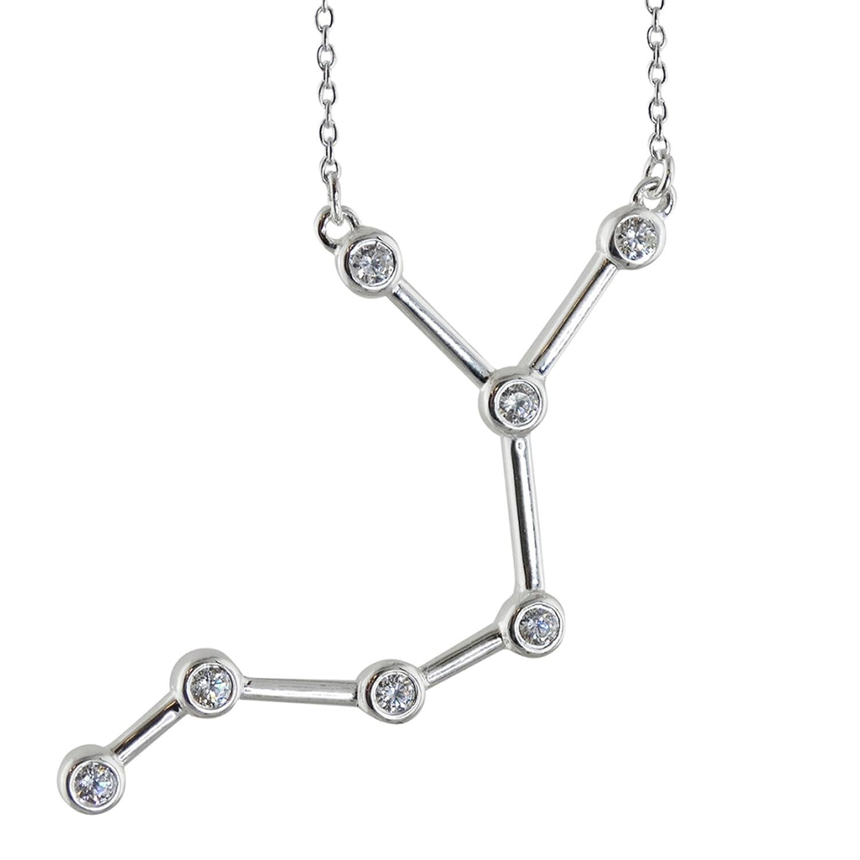 18 Sterling Silver Cubic Zirconia Sagittarius Constellation Pendant Necklace