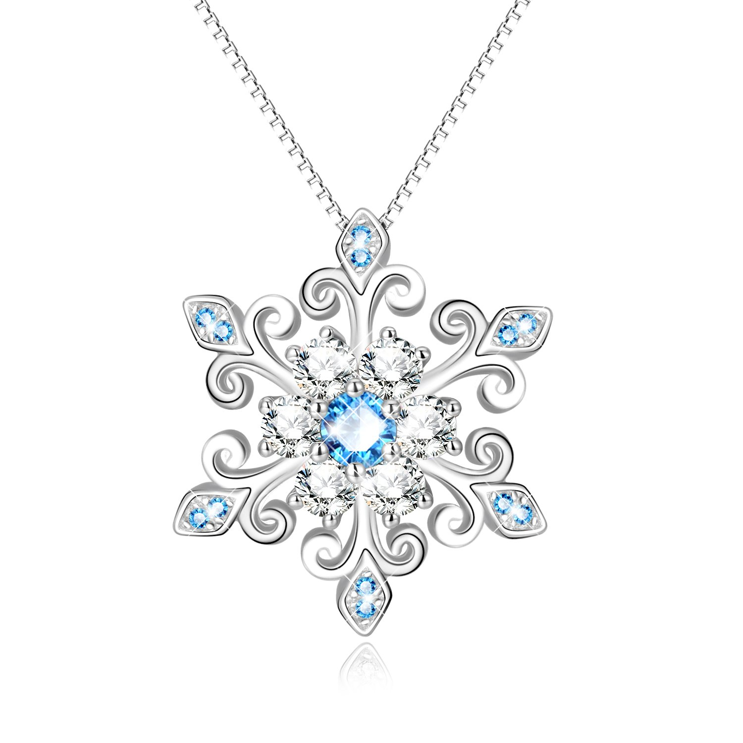 925 Sterling Silver Snowflake Pendant Necklace Blue and White Fleur De Lis, Romantic Jewelry Gift for Her Birthday