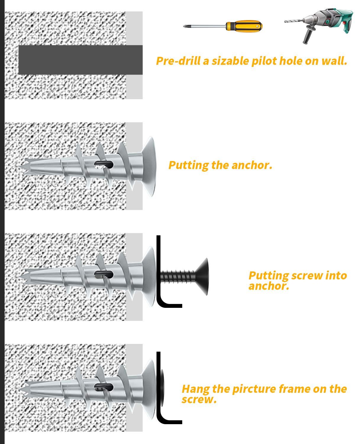 Come with Black Screws Self Drilling Wall Anchors for Drywall 200 Pieces LuckIn Zinc Drywall Anchors with Screws